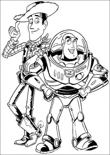 Coloriage et dessins gratuits Woody et Buzz l'Eclair Toy Story à imprimer