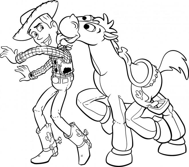 Coloriage Woody Et Son Cheval Disney Dessin Gratuit à Imprimer
