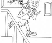 Coloriage Woody sur le dos de l'enfant