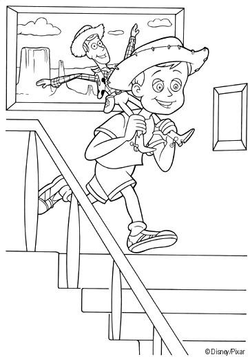 Coloriage et dessins gratuits Woody sur le dos de l'enfant à imprimer