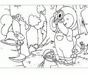 Coloriage Tchoupi et Doudou dans la forêt