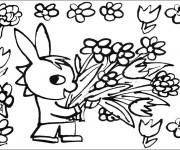 Coloriage Troto cueille des fleurs