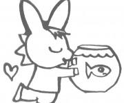 Coloriage Trotro avec son poisson
