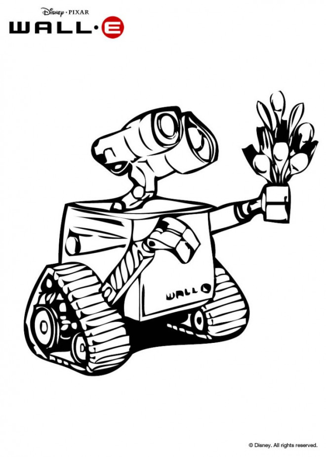 Coloriage et dessins gratuits Dessin Wall-E 21 porte ses fourchettes à imprimer