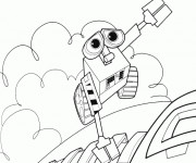 Coloriage et dessins gratuit Wall-E dessin animé à imprimer
