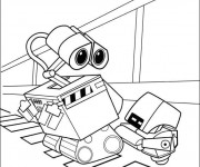Coloriage Wall-E et Burn E dessin