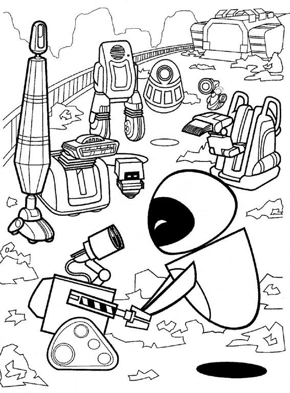 Coloriage et dessins gratuits Wall-E et Eve à imprimer