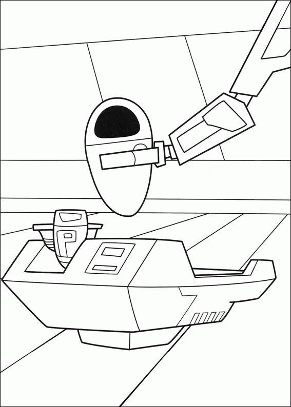 Coloriage et dessins gratuits Wall-E et Eve en ligne disney à imprimer