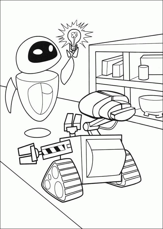 Coloriage et dessins gratuits Wall-E et Eve ont une idée à imprimer