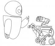 Coloriage Wall-E et Eve se parlent