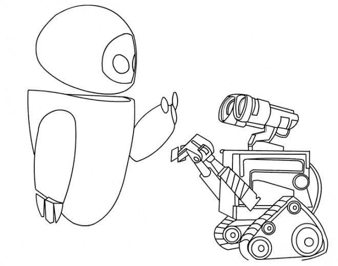 Coloriage et dessins gratuits Wall-E et Eve se parlent à imprimer