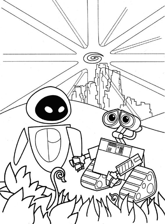 Coloriage et dessins gratuits Wall-E et Eve serrent les mains à imprimer