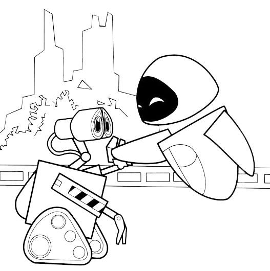 Coloriage et dessins gratuits Wall-E et Eve souriant à imprimer