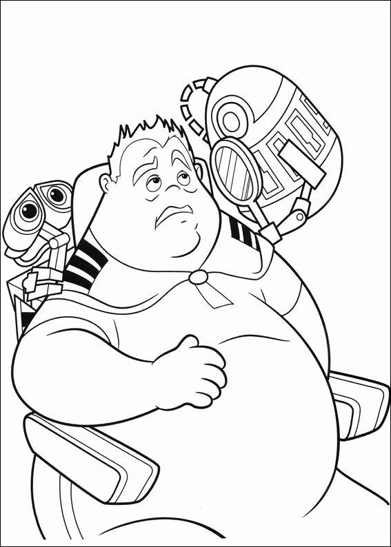 Coloriage et dessins gratuits Wall-E et John en ligne à imprimer