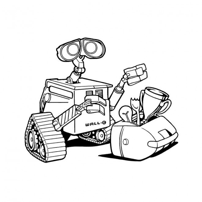 Coloriage et dessins gratuits Wall-E et son sac dessin à imprimer