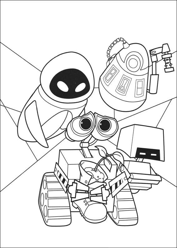 Coloriage et dessins gratuits Wall-E et une plante à la main à imprimer