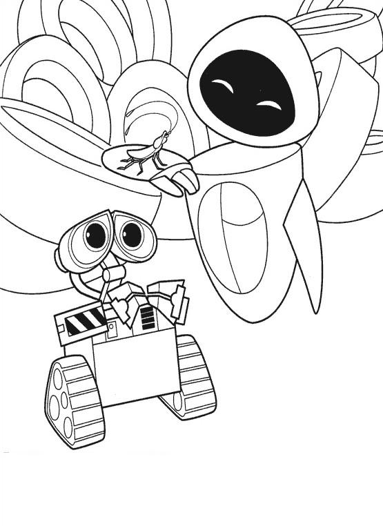 Coloriage et dessins gratuits Wall-E Eve et Hall à imprimer