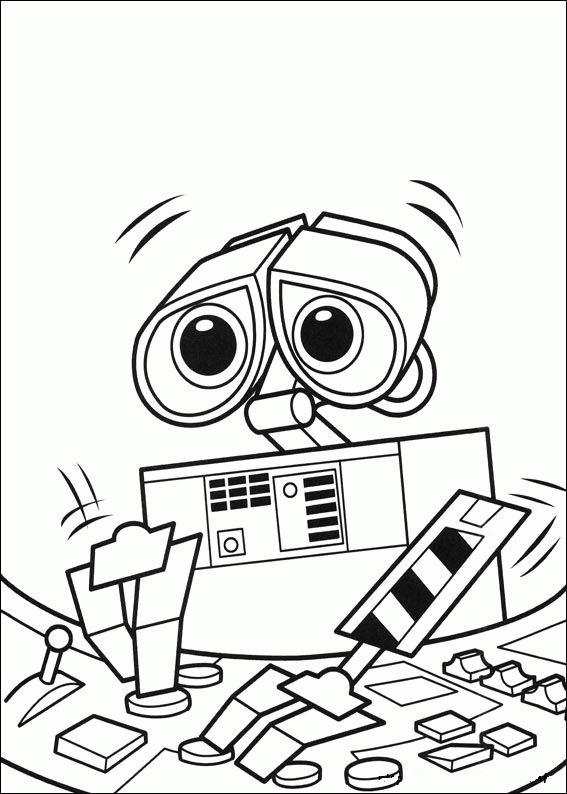 Coloriage et dessins gratuits Wall-E robot en ligne à imprimer