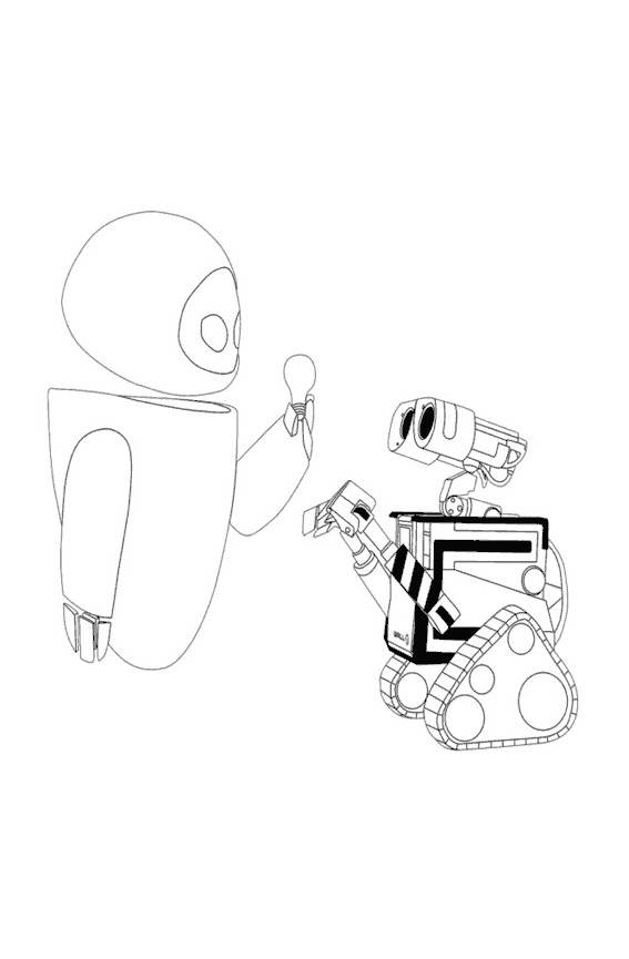 Coloriage et dessins gratuits Wall-E robot et Eve à imprimer