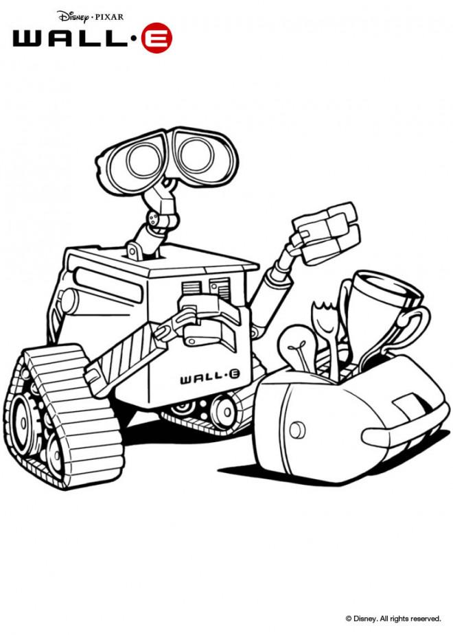 Coloriage et dessins gratuits Wall-E robot et son trophé à imprimer