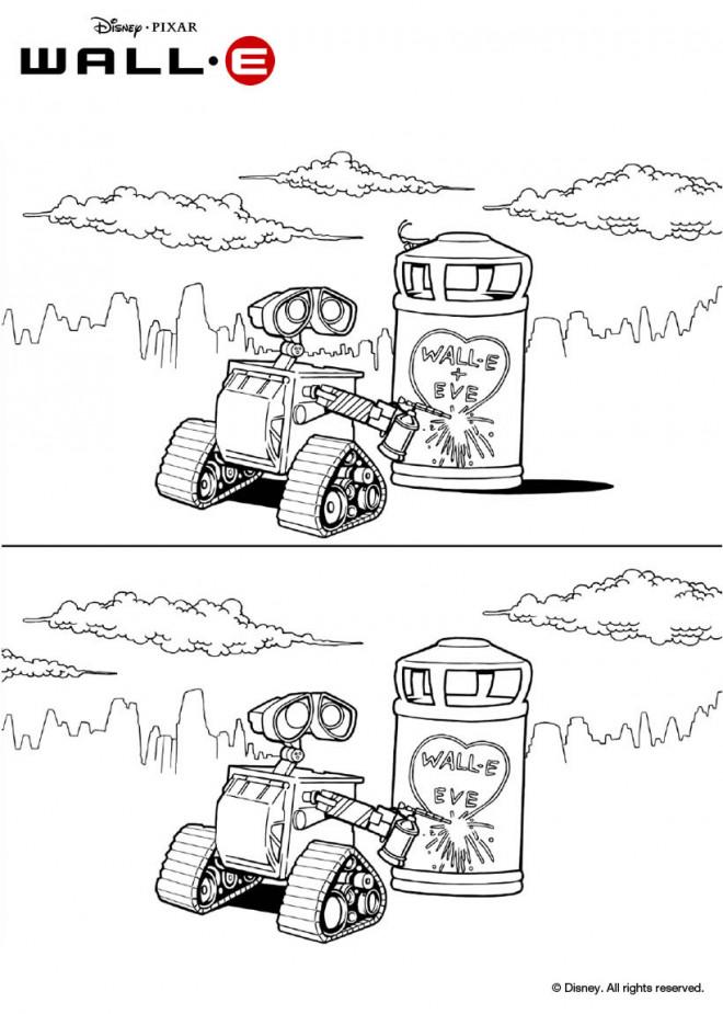 Coloriage et dessins gratuits Wall-E soude Wall E et Eve à imprimer