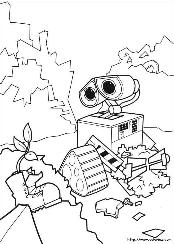 Coloriage et dessins gratuits Wall-E trouve une chaussure à imprimer