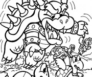 Coloriage et dessins gratuit Bowser et les Koopa Troopa à imprimer