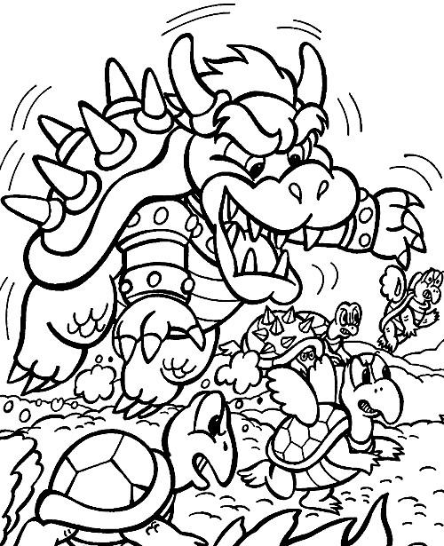 Coloriage et dessins gratuits Bowser et les Koopa Troopa à imprimer