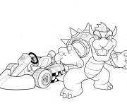 Coloriage Bowser et voiture kart