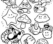 Coloriage et dessins gratuit Magique Mario à imprimer
