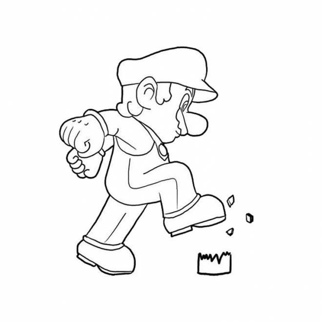 Coloriage et dessins gratuits Mario écrase une boîte à imprimer