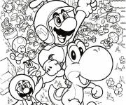 Coloriage et dessins gratuit Mario, Yoshi et leurs amis à imprimer