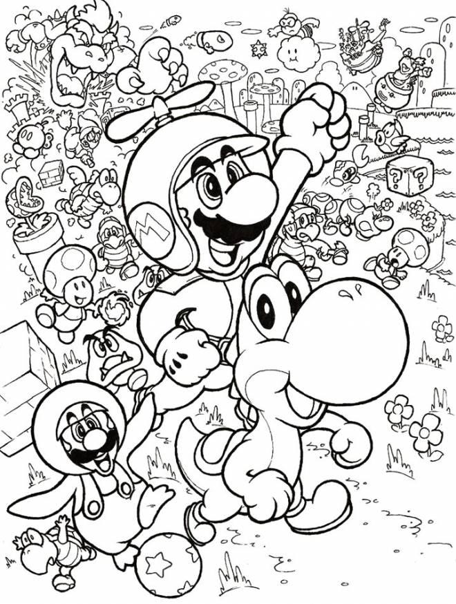 Coloriage Mario Yoshi Et Leurs Amis Dessin Gratuit A Imprimer