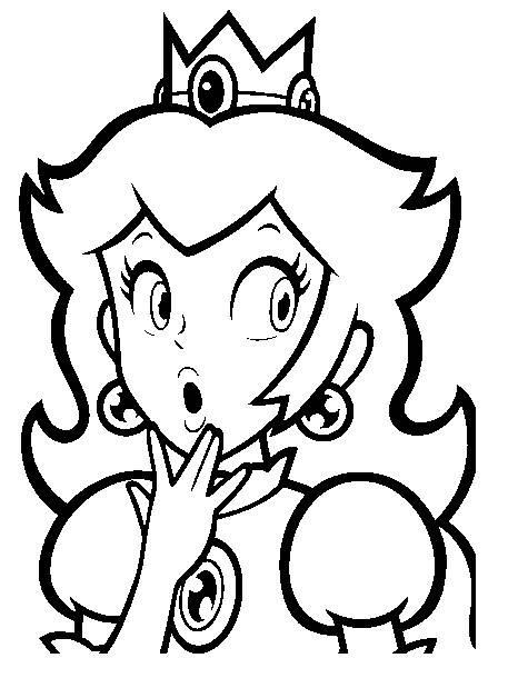 Coloriage et dessins gratuits Princesse Peach surprise à imprimer