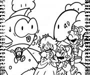 Coloriage et dessins gratuit Super Mario Bros et la princesse personnage à imprimer