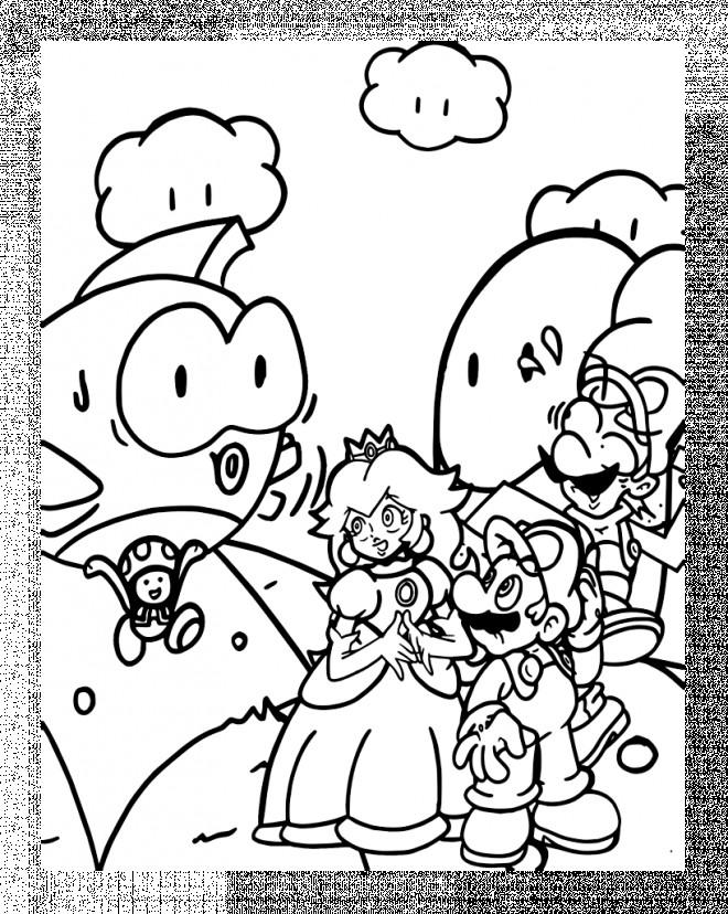 Coloriage Abeille Mario.Coloriage Super Mario Bros Et La Princesse Personnage