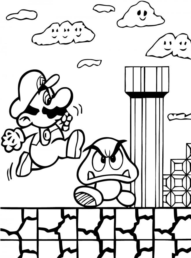 Coloriage et dessins gratuits Super Mario Bros gagne des points à imprimer