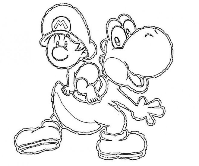 Coloriage Gratuit A Imprimer Mario Yoshi.Coloriage Mario Bros Bebe Sur Yoshi Tortue Anime