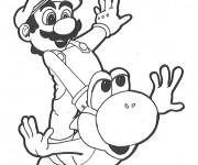 Coloriage et dessins gratuit Mario Bros Yoshi à imprimer
