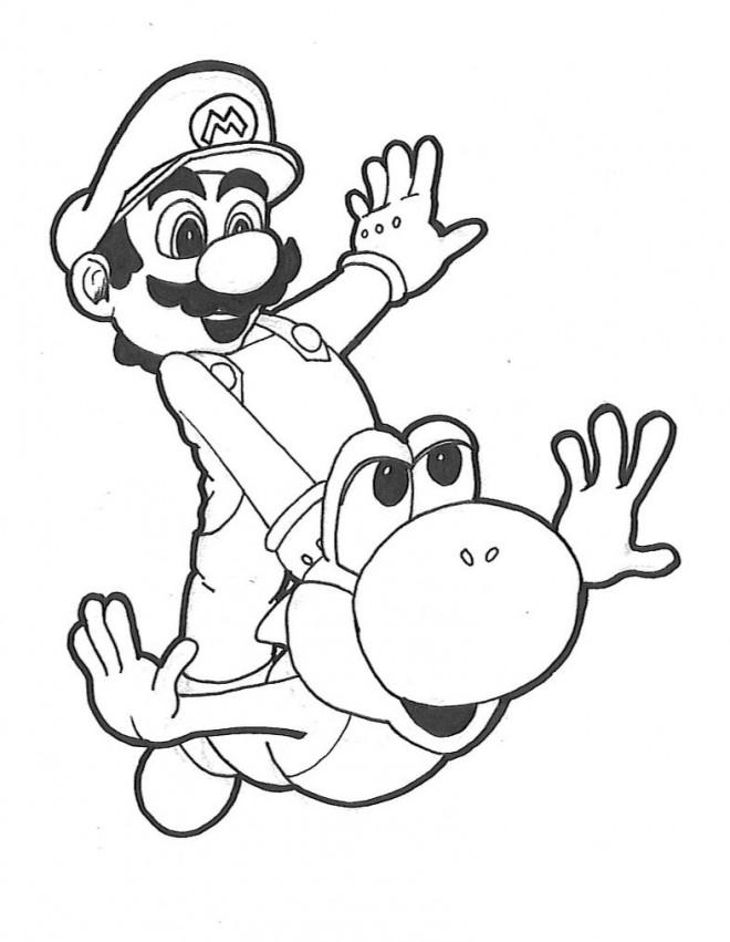 Coloriage Mario Bros Yoshi Dessin Gratuit à Imprimer