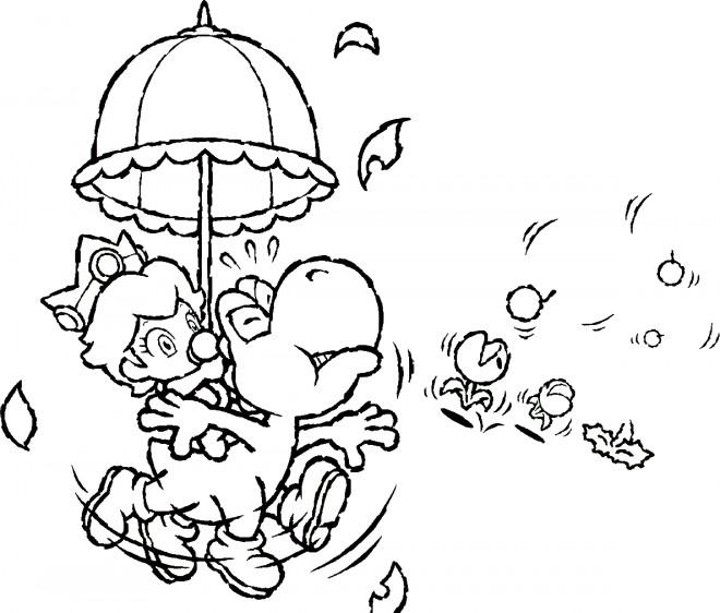 Coloriage et dessins gratuits Yoshi et enfant animé à imprimer