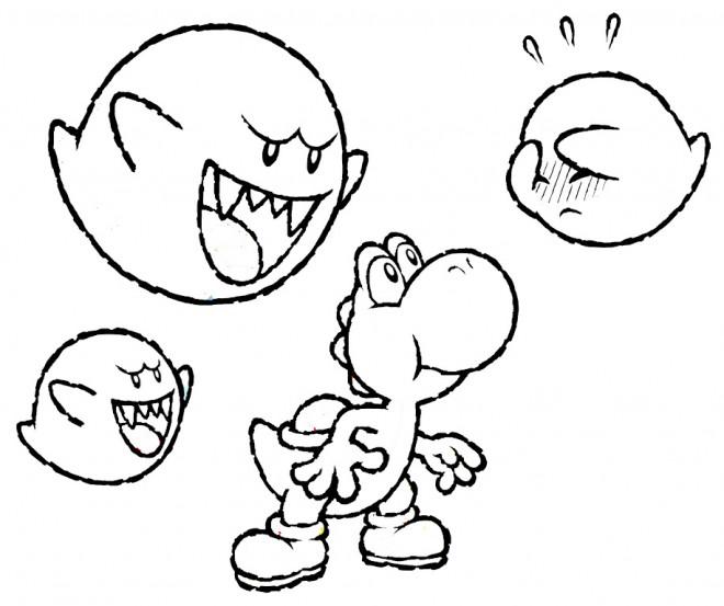 Coloriage et dessins gratuits Yoshi et les fantômes à imprimer