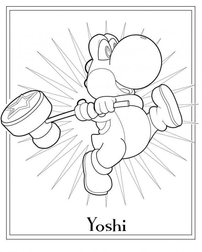 Coloriage et dessins gratuits Yoshi et son marteau à imprimer
