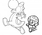 Coloriage Yoshi et Toad