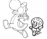 Coloriage et dessins gratuit Yoshi et Toad à imprimer