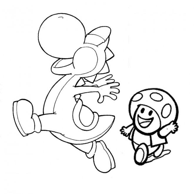 Coloriage Yoshi et Toad dessin gratuit à imprimer