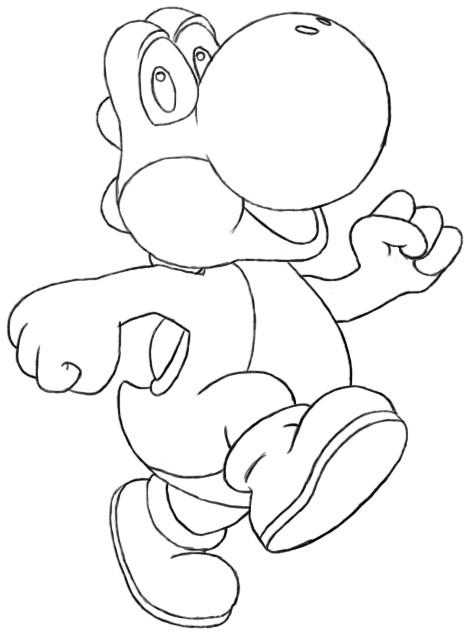 Coloriage et dessins gratuits Yoshi marche à imprimer
