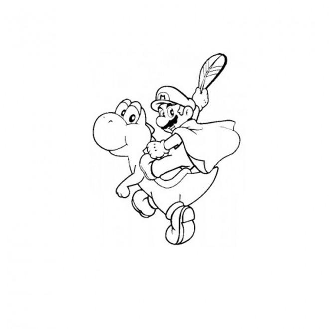 Coloriage et dessins gratuits Yoshi tortue et Mario Bro à imprimer