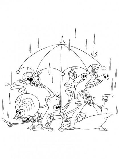 Coloriage et dessins gratuits Les Zinzin sous la pluie à imprimer