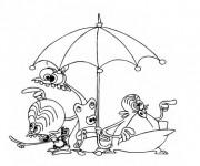 Coloriage Les Zinzin sous une parapluie